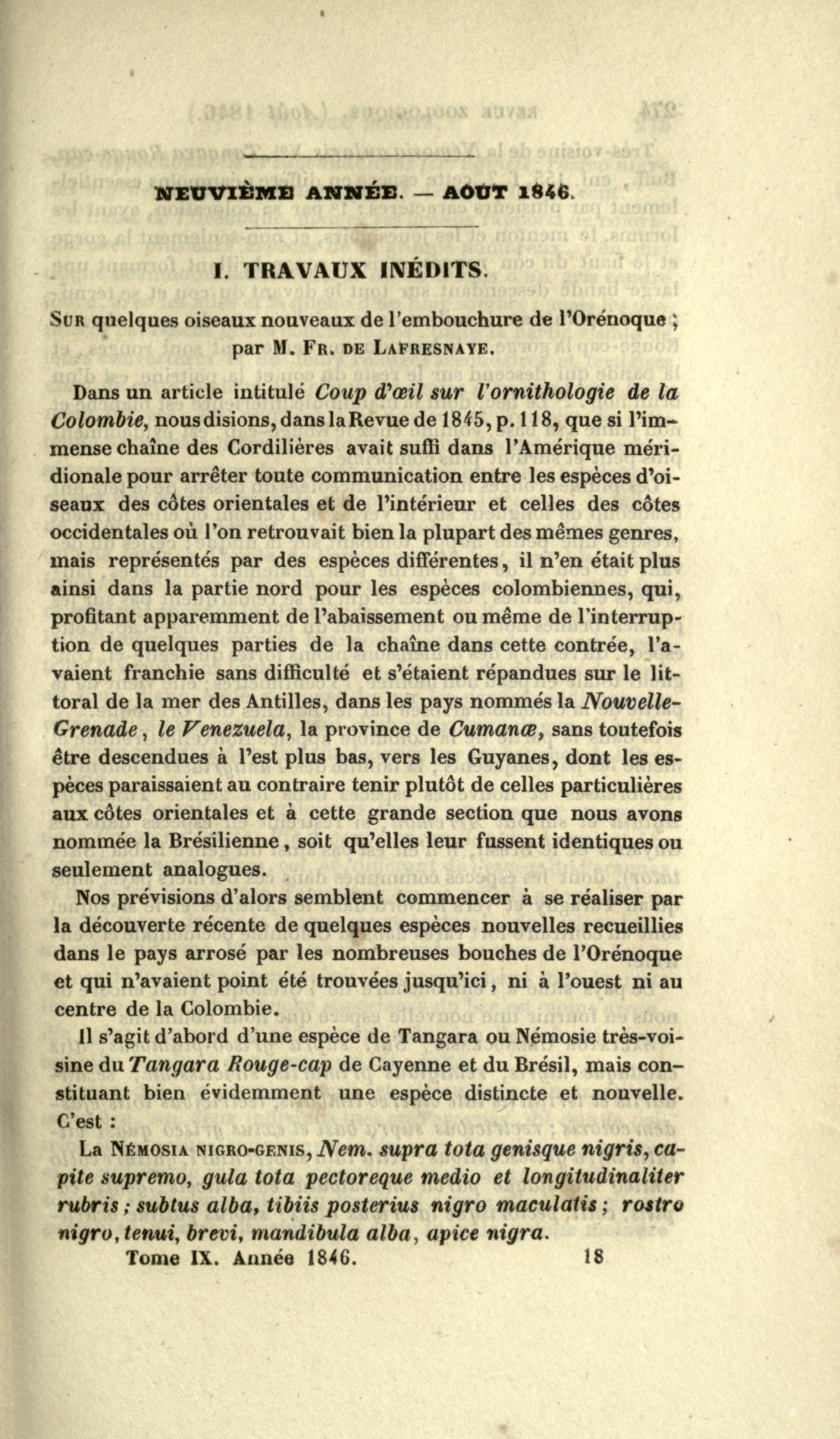 I. Travaux Inedits. Sur Quelques Oiseaux Nouveaux de l'Embouchure de l'Orenoque