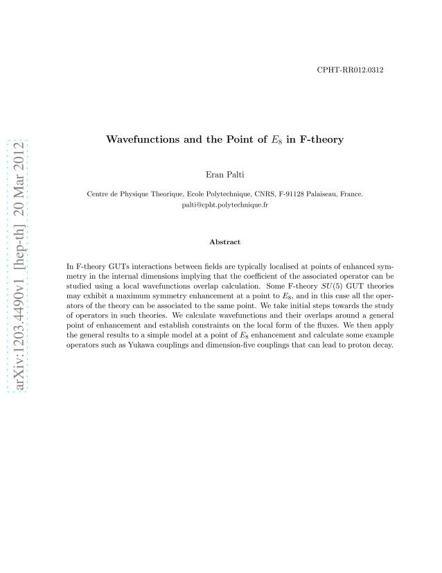 Eran Palti - Wavefunctions and the Point of E8 in F-theory