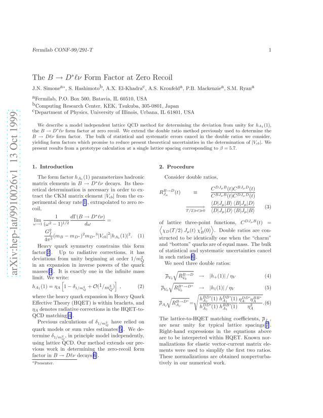 J. N. Simone - The B -> D* l nu Form Factor at Zero Recoil